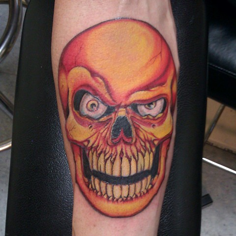 avalon tattoo,pacific beach, skull tattoo, bright tattoo, jason salinaz, atomic jellyfish, san diego tattoo artist