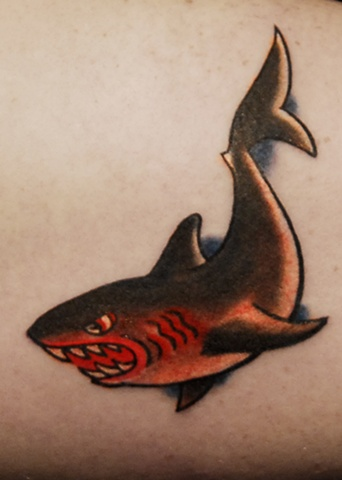 avalon tattoo, pacific beach, Sailor Jerry Tattoo, shark tattoo, Old school tattoo, atomic jellyfish, jason salinaz, san diego tattoo artist