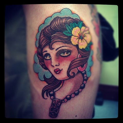 tropicaltattoo, girltattoo tikitattoo, avalontattoo, jasonsalinaz, sandiego, california, pacificbeach
