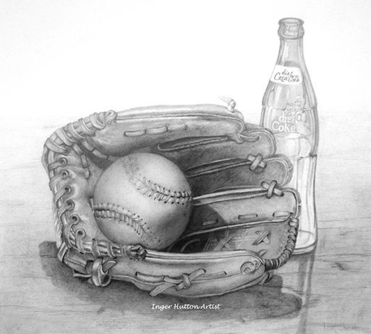 Baseball and Glove, graphite drawing