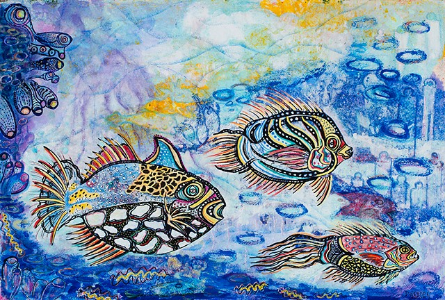 colorful fish and india ink drawing