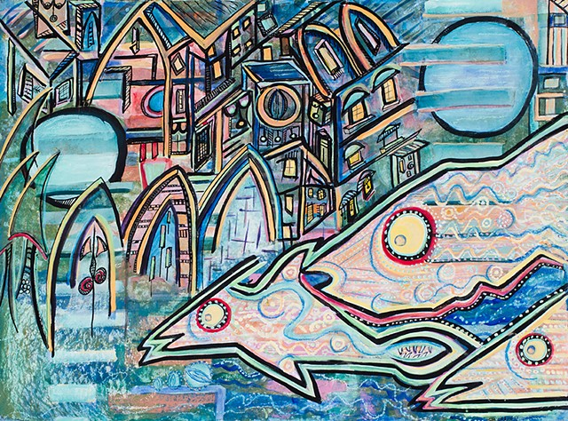 Fish in the City  #artstudio #fish. #buildings