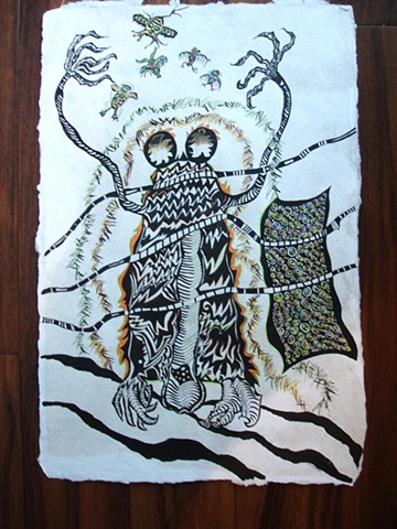 Other worldly spirit on handmade paper. Insect with owls by Dorothy Graden