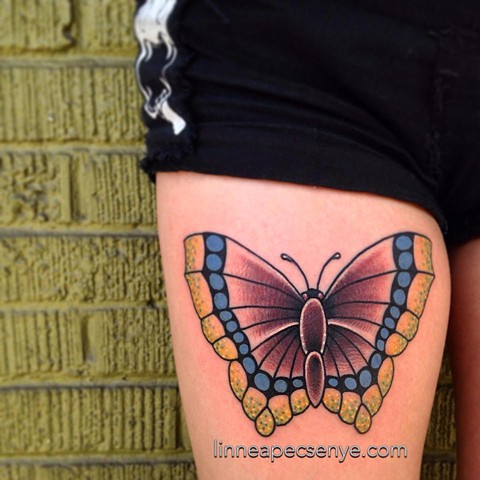 mourning cloak butterfly tattoo by LINNEA in asheville nc chicago