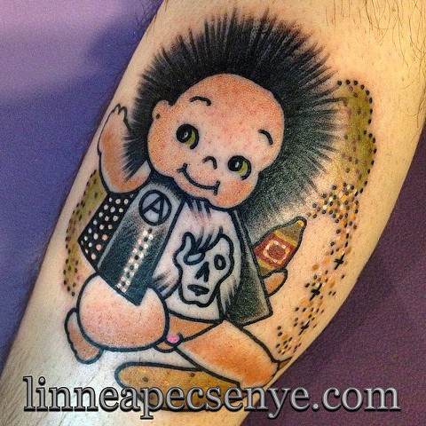 crust punk tattoo dbeat flux of pink indians kewpie tattoo by LINNEA in asheville nc chicago