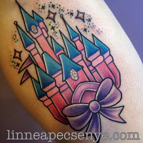 cute disney castle tattoo by linnea in asheville nc