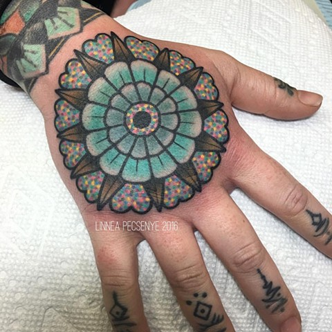 Colorful mandala hand tattoo asheville tattoo linnea tattoos chicago tattoo
