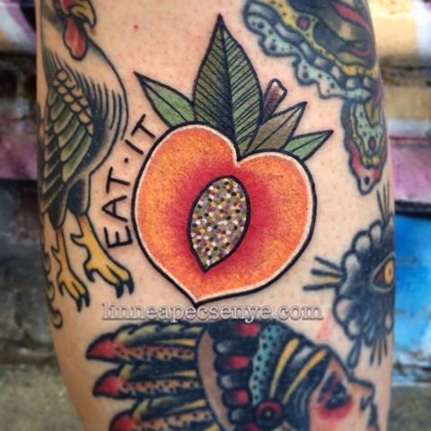 sparkly peach tattoo by linnea in asheville nc