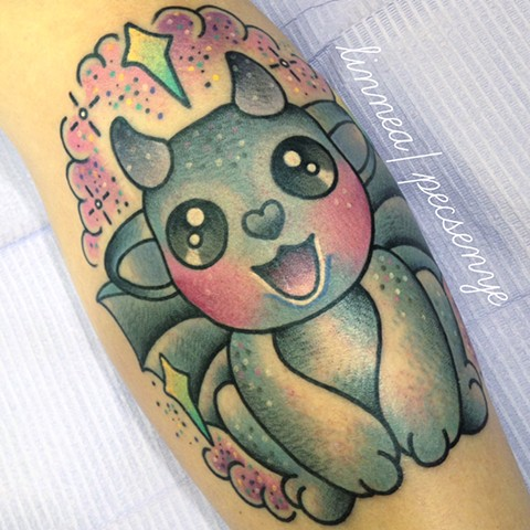 Kawaii gargoyle tattoo by LINNEA @linneatattoos in Asheville, NC
