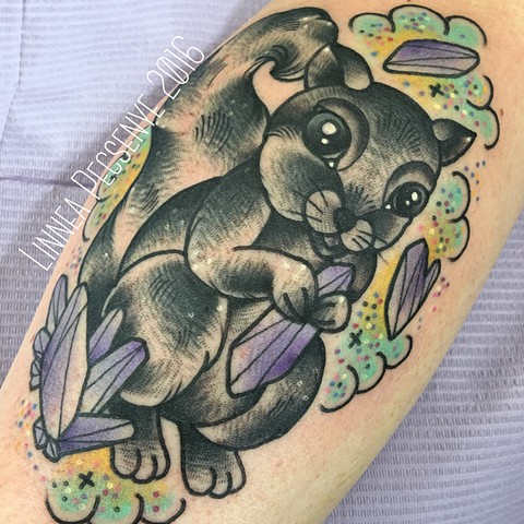 Squirrel tattoo and amethyst tattoo by Linnea in asheville nc