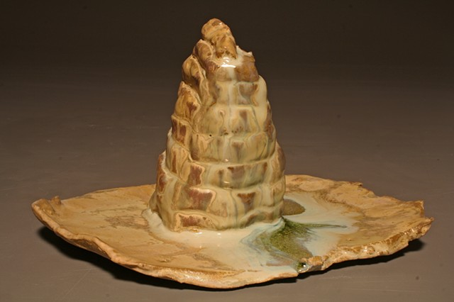 Roche Carved Hand-built Ceramic Cone Six Sculpture