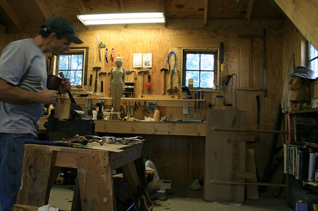 studio carving sculptor workshop sculpting Tim Pewe