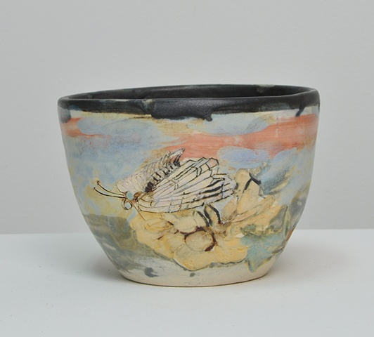 bowl with garden scene on outside and succulent depicted on inside
