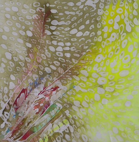 yellow and olive green dyed silk with peacock feather shapes and ovals