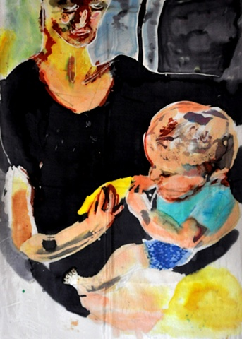 painting of woman and child eating mango