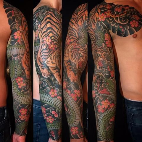 Japanese Snake Sleeve Tattoo Designs