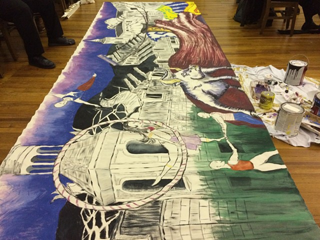 Backdrop painting for the production of 13 Dead Husbands