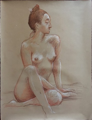 Life drawing, nude seated