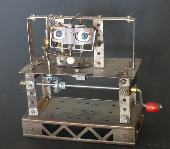 Michael Thompson Chicago artist,kinetic art, Dada art, mechanical art, Steampunk art,
