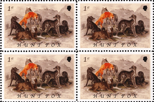 Michael Thompson Chicago Artist, artistamps, Fox Hunting Commemorative stamp, British stamps, fake British stamps