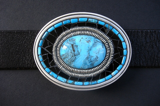 One of a kind belt buckle with kingman turquoise, glass, trade beads