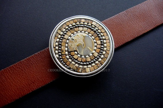 Spiral One of a Kind Mosaic Belt Buckle in Earthy Browns