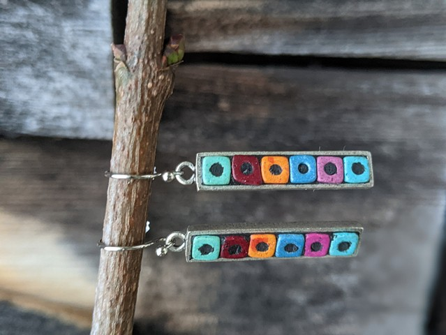 COLOR BLOCK SKINNY DROP EARRINGS