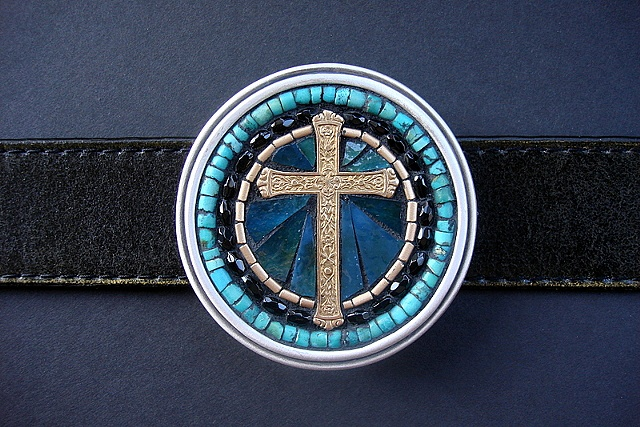 One of a kind handmade belt buckle with a brass cross, turquoise, onyx and stained glass