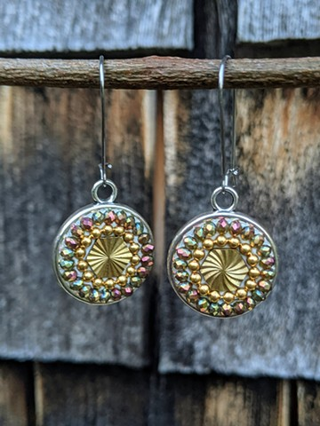 VINTAGE BRASS MOSAIC EARRINGS