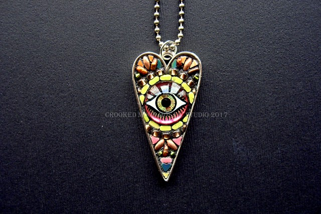 Third Eye One of a Kind Mosaic Heart Pendant
