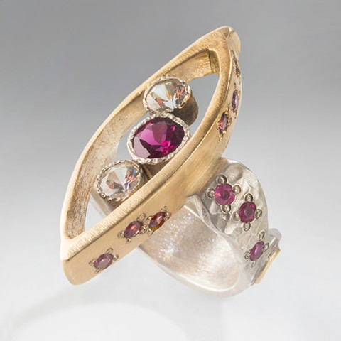 One-of-a-kind, hand-fabricated !4Kt. gold, sterling silver, rhodolite pink garnets and white sapphires