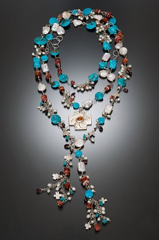 sterling silver, turquoise, freshwater pearls, spiny oyster shell, garnets