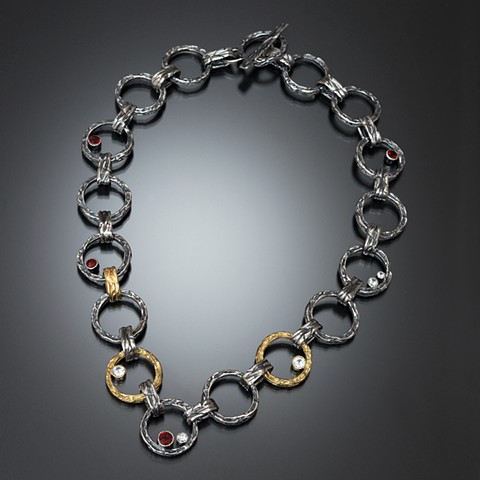 sterling silver link necklace with red and white stones