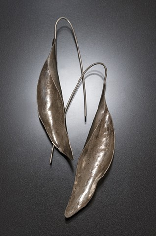 Sterling silver folded leaves