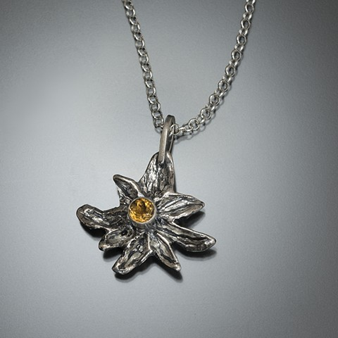 flower sterling silver edelweiss citrine yellow