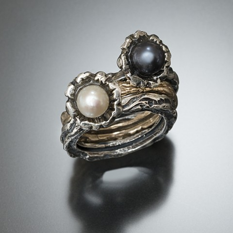 vine textured ring in sterling silver and gold, stack rings, pearls