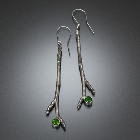 Cast apple branch earrings in sterling silver with chrome diopside