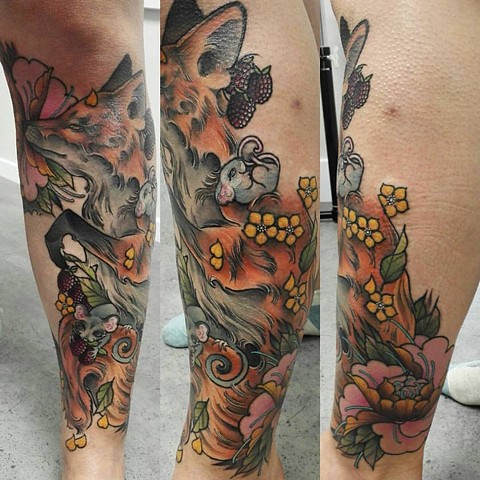 Fox and mice Leg sleeve. Tattoo by Samantha Sirianni. La Flor Sagrada Tattoo. MELBOURNE, AUSTRALIA