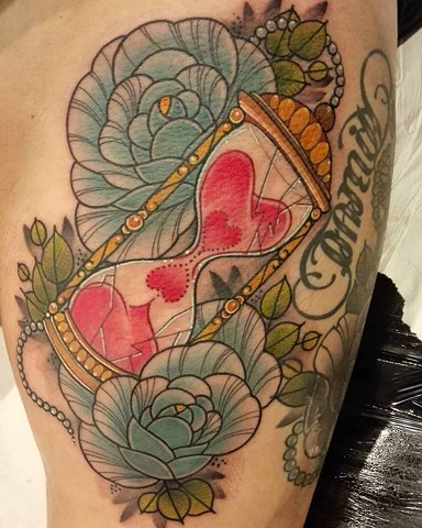 Hourglass tattoo by Samantha Sirianni. La Flor Sagrada Tattoo. MELBOURNE, AUSTRALIA