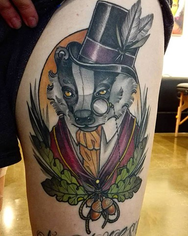 Tattoo by Samantha Sirianni. Gentleman Badger. La Flor Sagrada Tattoo
