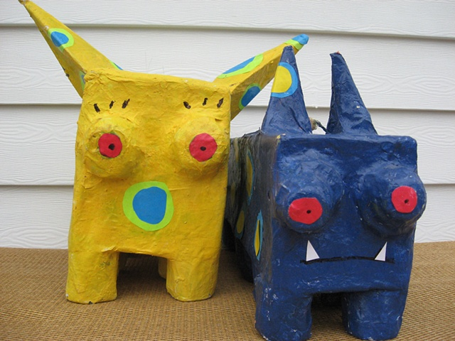 Don't be shy and say hi to my imaginary friends out of paper mache!