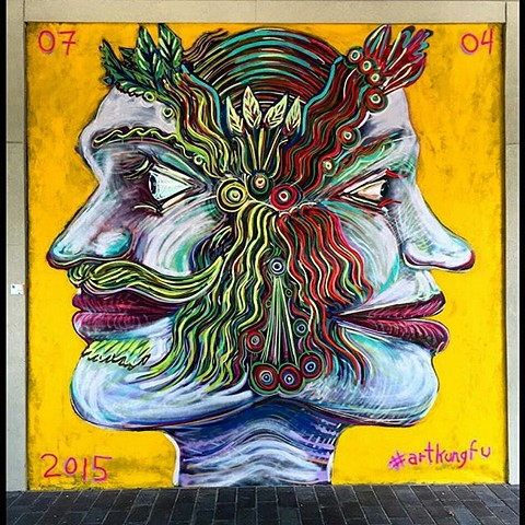 Janus head, Street art mural by Angel Quesada. Created for a gallery in South Houston.