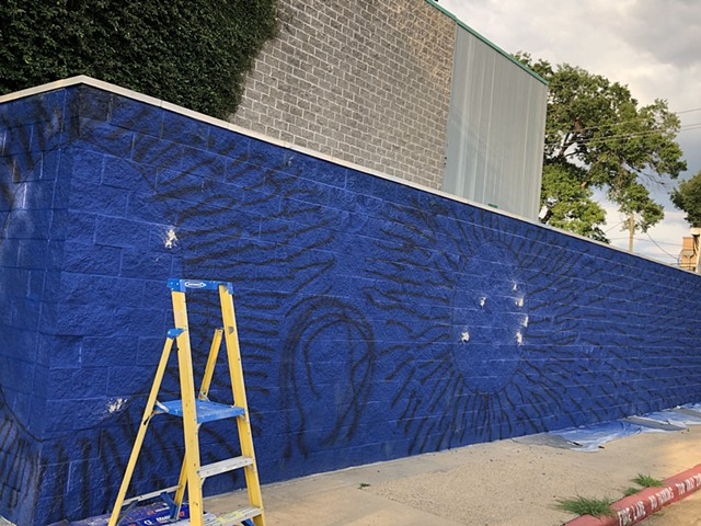 Spark Park funds artist Angel Quesada for a new mural at the Arabic Immersion Magnet School (AIMS). Houston Independent School District. Houston, Texas. 2020. Mural.