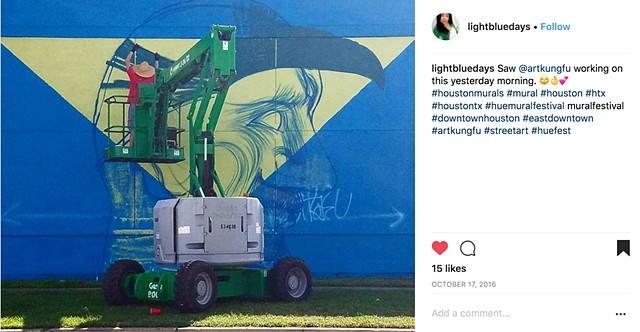 Mural by Angel Quesada. Created for HUE mural festival in Houston, Texas. Work in progress.