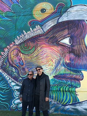 Visit Houston tourist campaign. Houston texas mural by Angel Quesada. Cheech Marin visits the site.
