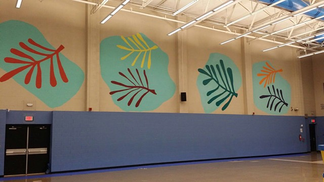 A design created for BIMBO bakery at HISD Clifton Middle School. Public art by Angel Quesada. Houston, Texas.