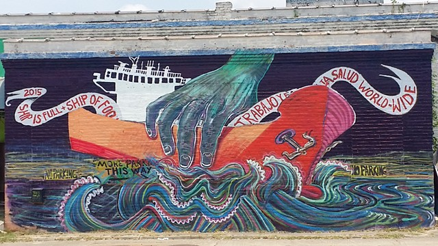 Created for the 100 year anniversary for the Houston Ship Channel. Painted at Super Happy Funland  Street art by Angel Quesada.