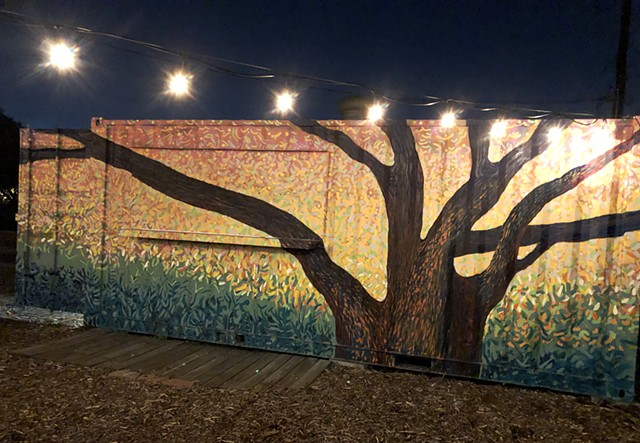 Mural at Finca Tres Robles in Houston Texas. An organic farm with a mural onsite by artist Angel Quesada.