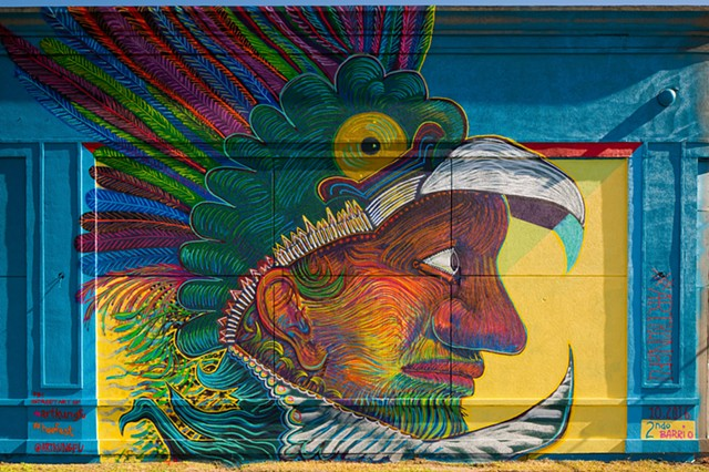 Mural by Angel Quesada. Created for HUE mural festival in Houston, Texas.