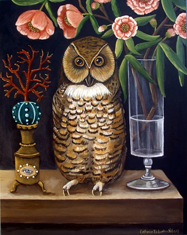 art, painting, owl, cabinet of curiosities, still life painting, owl art, catherine nolin, dequattro, emerging artist, coral, antiques